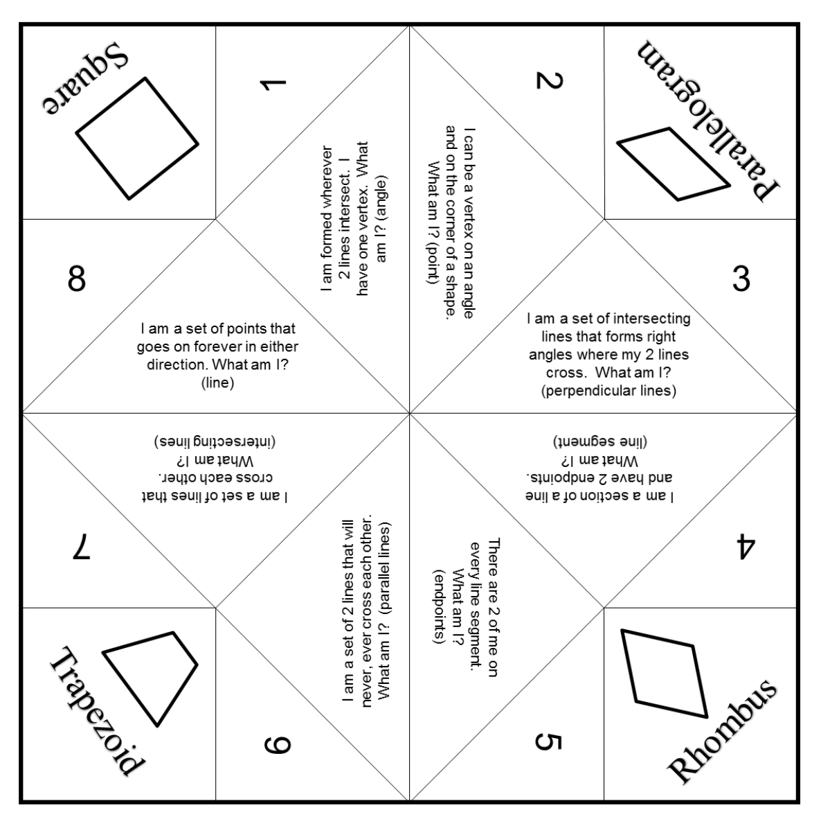 Geometry Terms Cootie Catcher