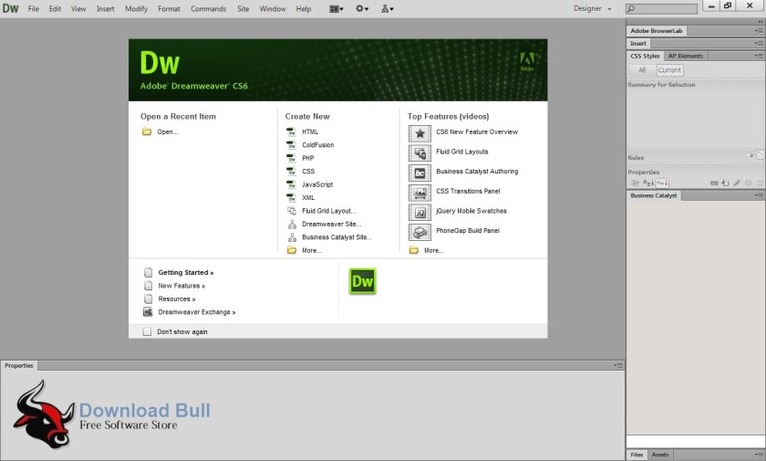 Portable adobe dreamweaver cs6 free download download bull for Templates for dreamweaver cs6