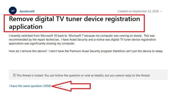Fixed: Remove Digital TV Tuner Device Registration Application in 2020