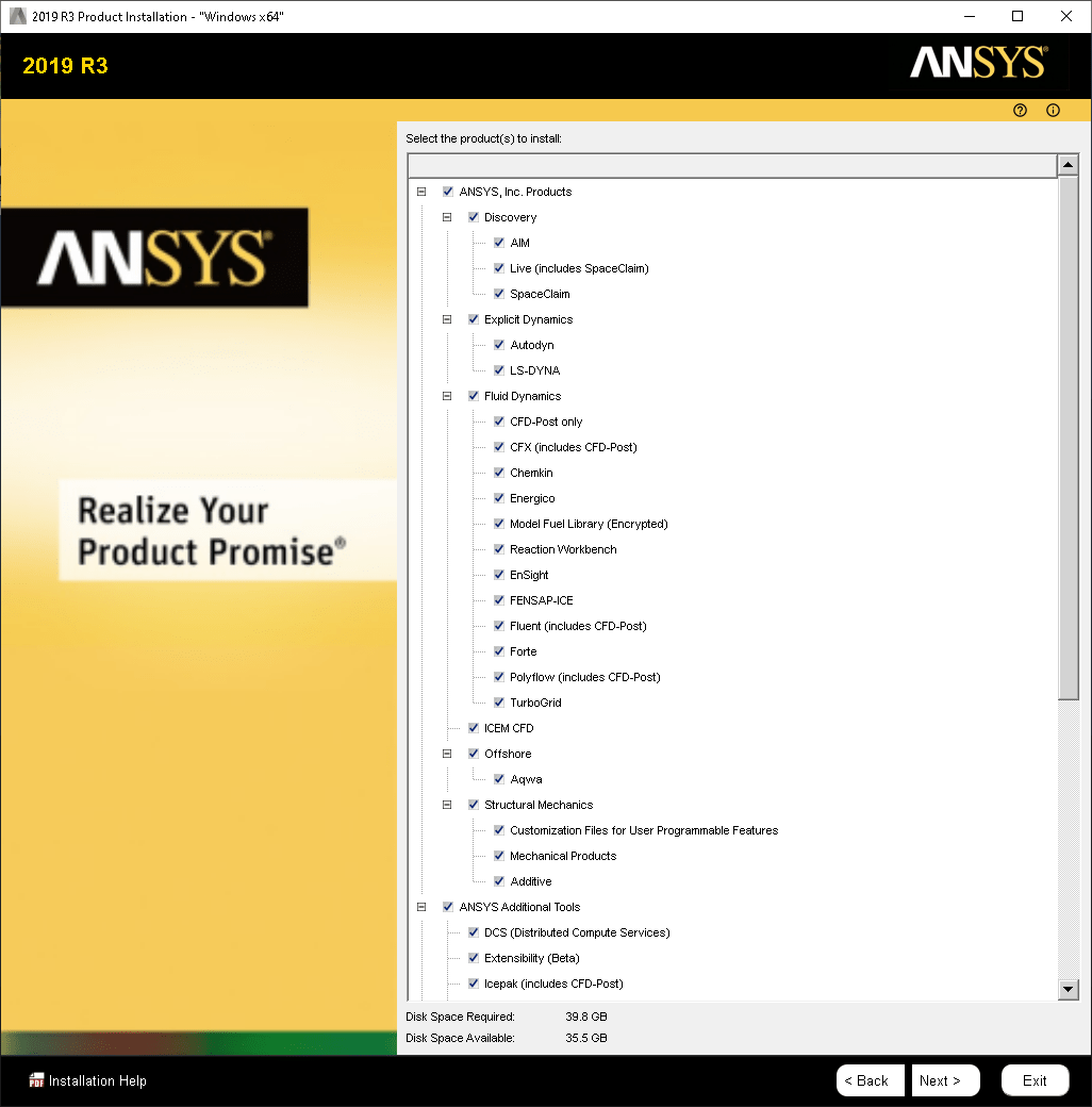 ANSYS Products screen