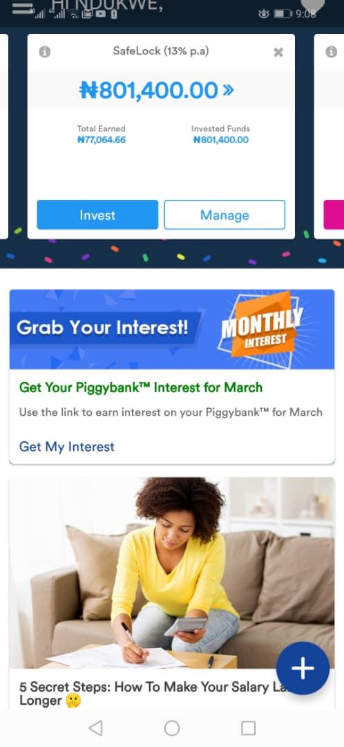 PiggyVest Savings Interest