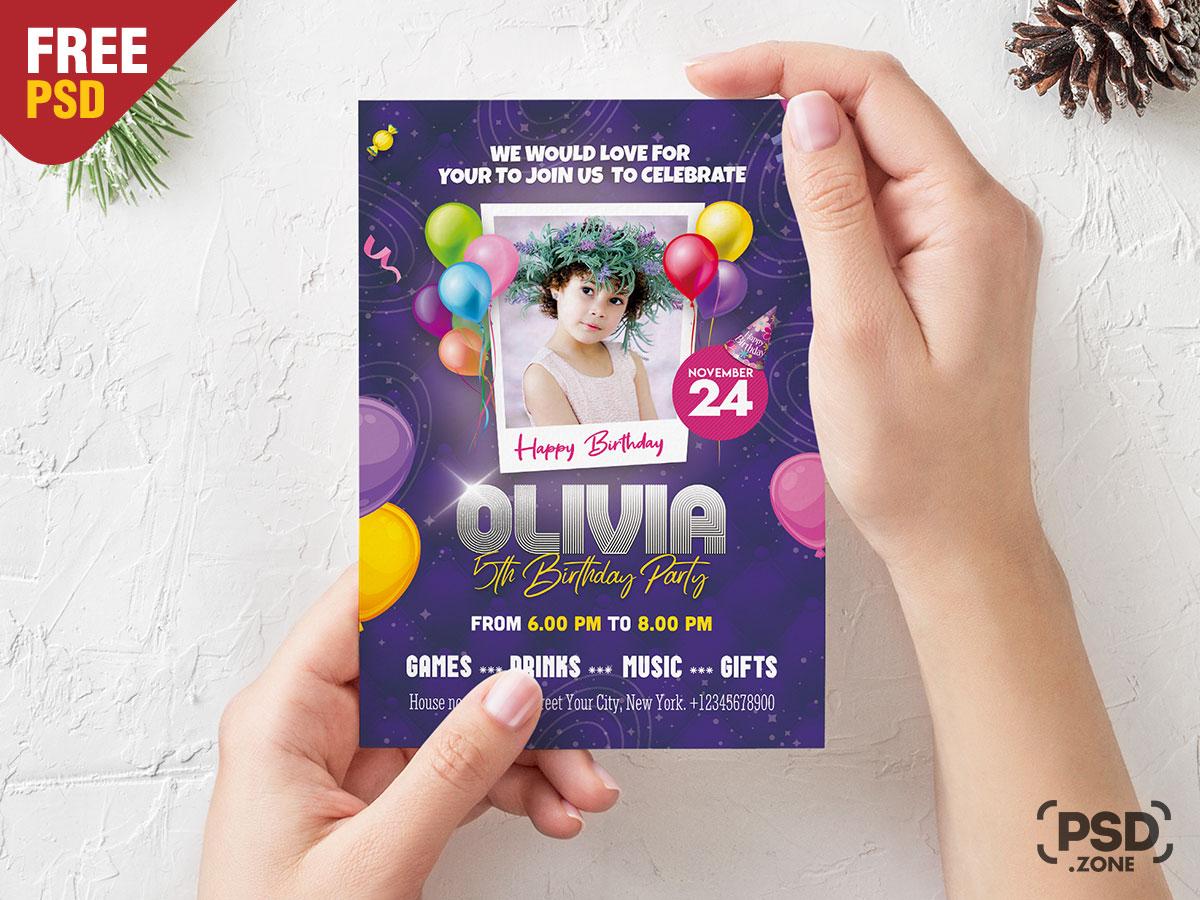 7 birthday party invitation card design