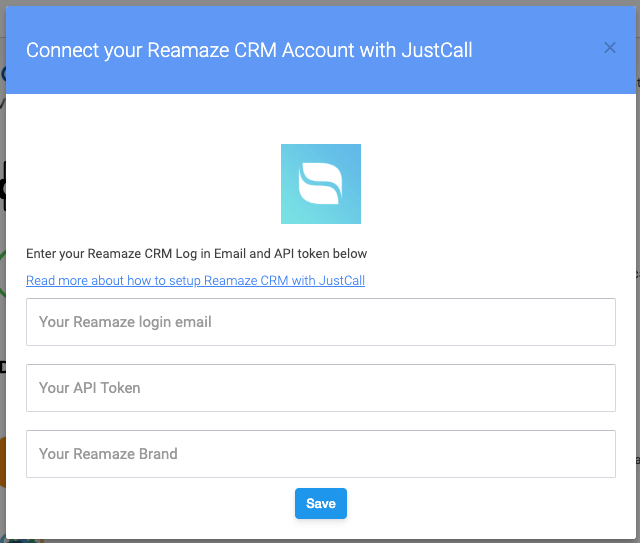 Reamaze CRM credentials