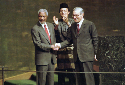 Image result for Malaysia's Razali Ismail and UN Secretary General Kofi Annan