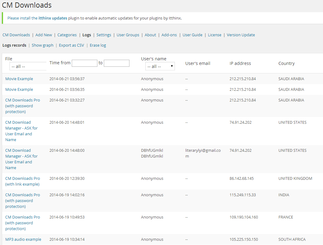 Cm Download Manager Logs And Statistics Add On