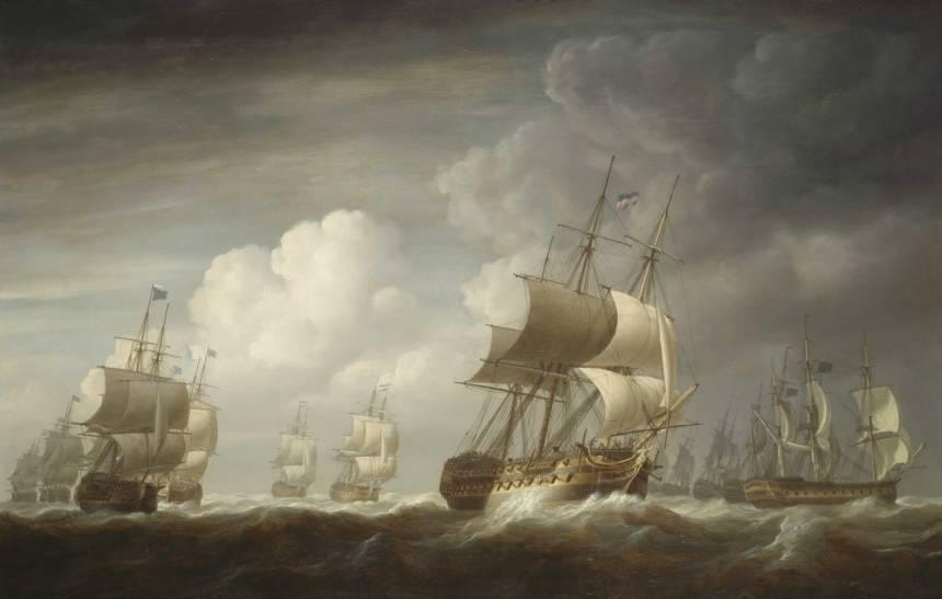 A_fleet_of_East_Indiamen_at_sea (Lord Hawkebury Wiki)