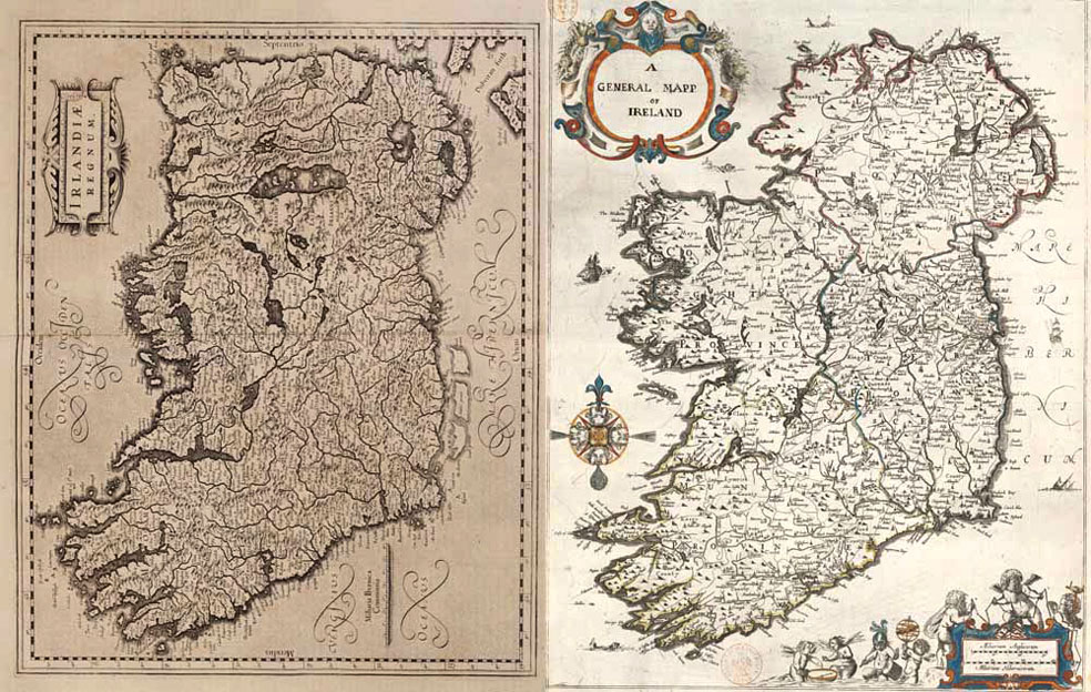Two maps of Ireland  1610s and 1650s  984 x 624    MapPorn Two maps of Ireland  1610s and 1650s  984 x 624