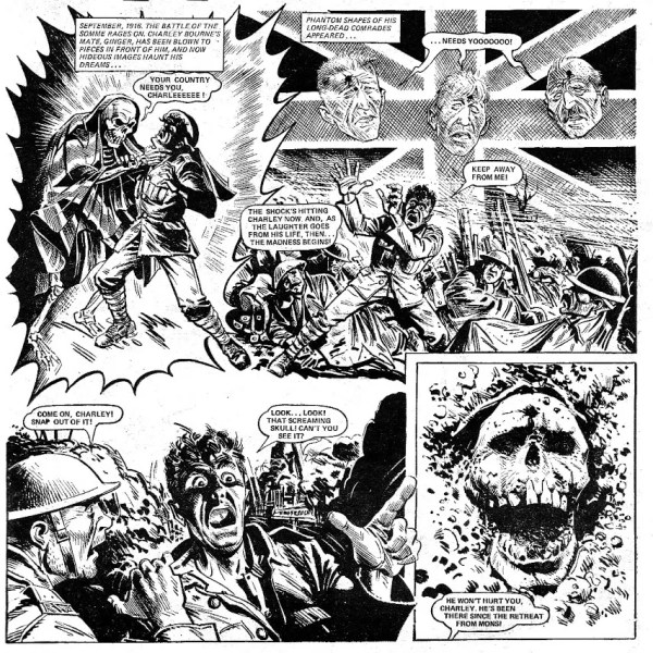 Charley freaks out after Ginger's death. A hair-rasing page from Charley's War, from the issue cover dated 27th October 1979.