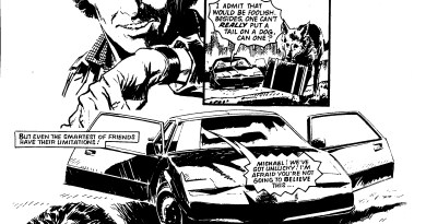 The original 1980s Knight Rider, as featured in Look-In. Art by Barrie Mitchell