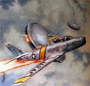 Jose's art for the cover of Commando issue 3177, Fatal Contact, showing  an American Sabre jet's encounter with two flying saucers.
