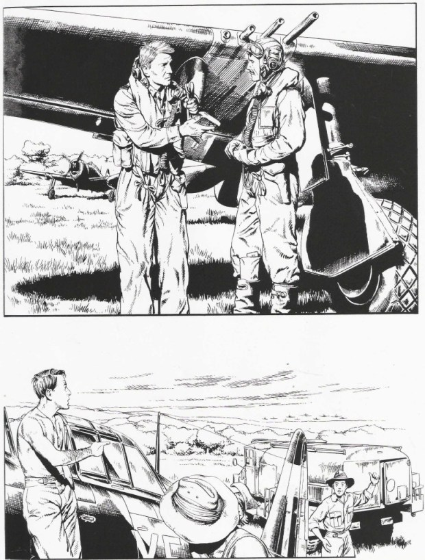 Unlettered art for a Commando comic drawn by Jose Maria Jorge. This is a photostat sent to a fan by then editor Ian Forbes, story unknown
