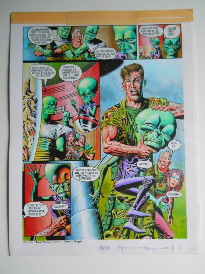 """A page from the Dan Dare story """"Green for Danger"""" from new Eagle, published in 1990. Art by David Pugh"""