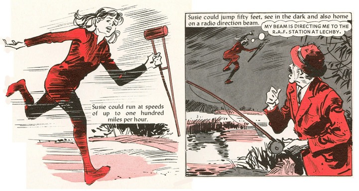 "The British ""Supergirl"" in action, from a 1977 story drawn by Douglas Perry"