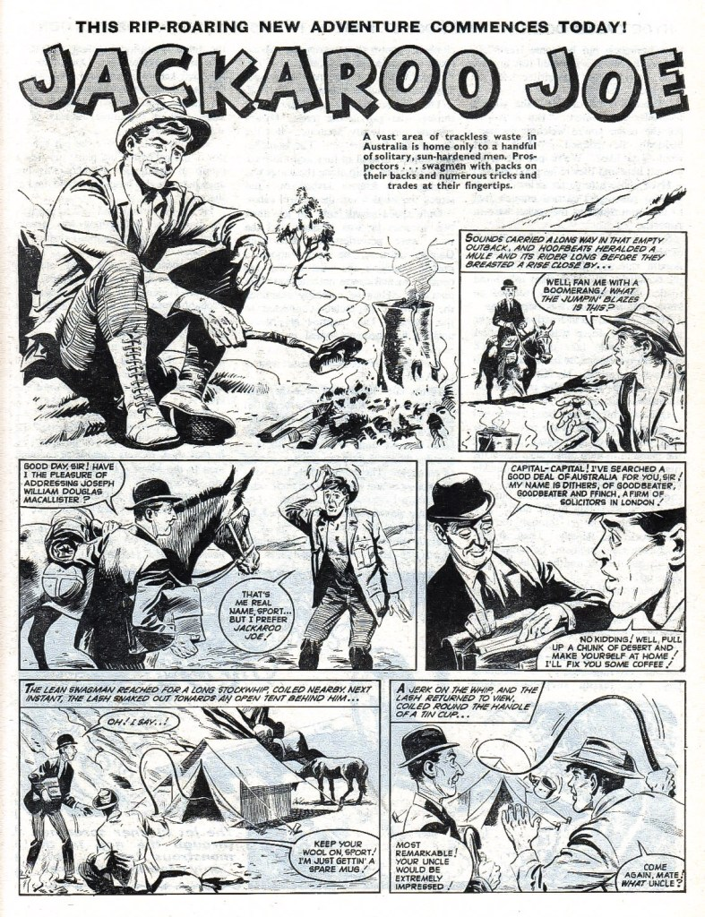 """Mike White's first regular strip was """"Jackaroo Joe"""" for Valiant about a swagman from the Australian outback brought to the UK. With thanks to Lew Stringer"""