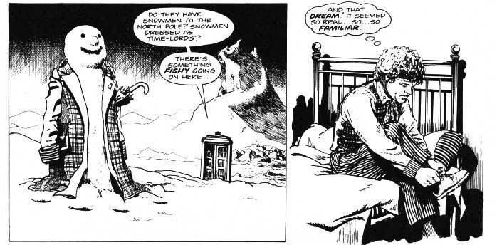 A quieter scene from the spectacular Sixth Doctor story Voyager by Steve Parkhouse and John Ridgway