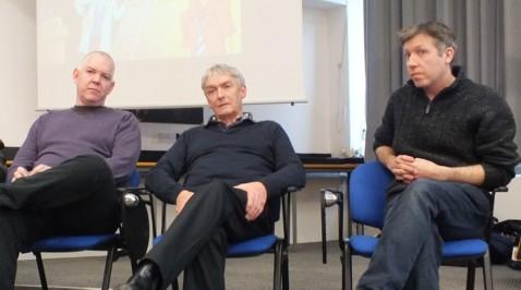 Digital Dandy editor Craig Ferguson, writer Dan McGachey, former Dandy editor Morris Heggie, and artist Stephen White