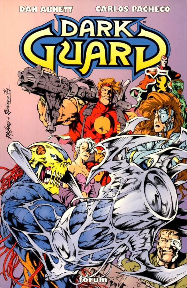 """The cover of the Spanish language collected edition of """"Dark Guard"""" Issues 1 - 4."""