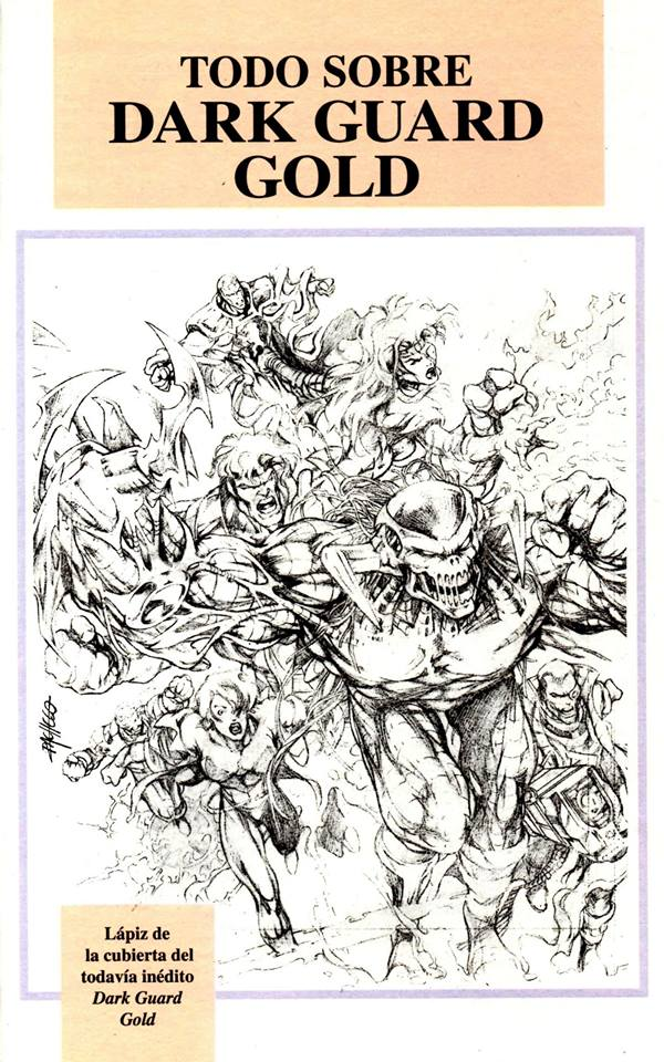 """Carlos Pacheo's pencils for the cover of Dark Guard Issue 5, which open a section in the Spanish language collection of Dark Guard entitled """"Dark Guard Gold"""""""