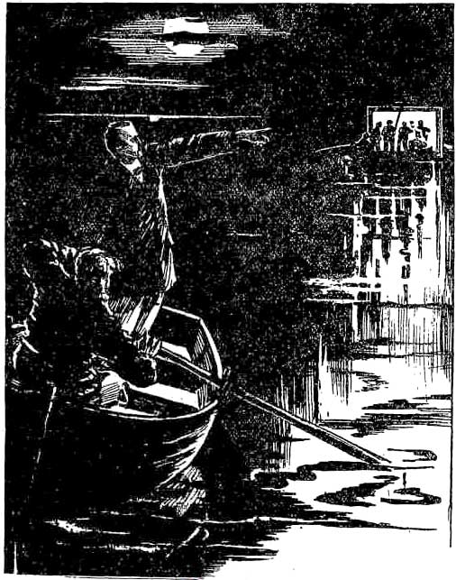 An illustration accompanying an episode of the Sexton Blake story 'The Lamp of Death', published in Chips in 1894.