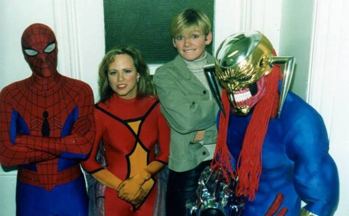 A young Zoe Ball takes in the delights of Marvel UK in 1994, while filming for some wonderful telly show or other for the BBC. In the Spider-Man suit is editor Stuart Bartlett and Spider-Woman is Marvel UK's American receptionist Alice. Death's Head II was often played by artist Liam Sharp (because he was the only giant amongst us). Photo: Tim Quinn