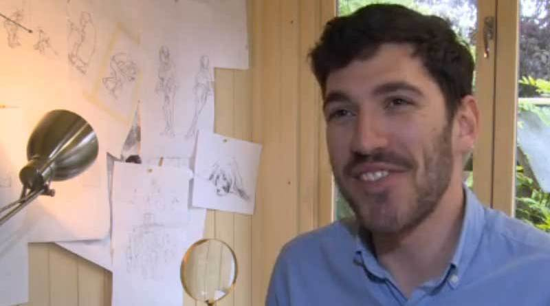 Will McPhail was interviewed by ITV's Granada News about his work in his studio.