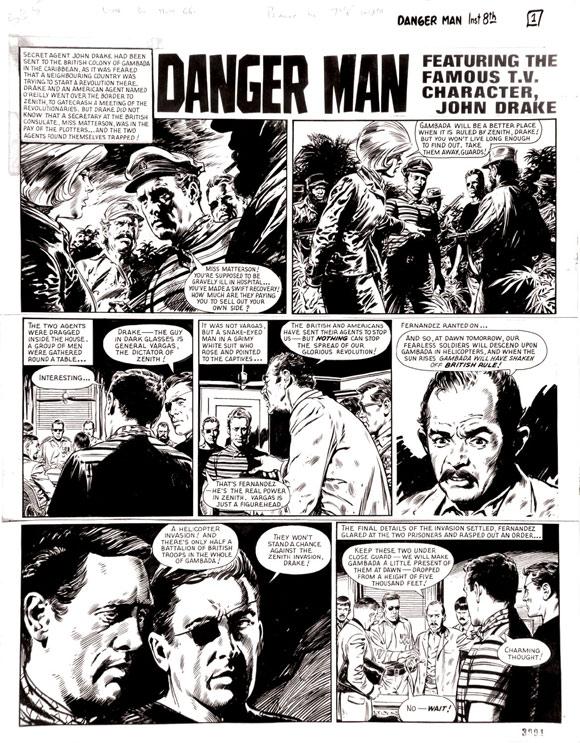 Danger Man original artwork by Jesus Blasco  for Lion 30 July 1966