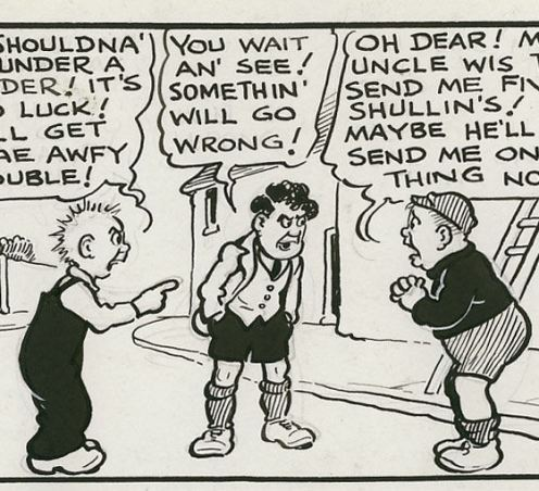 A classic 'Oor Wullie' moment by Dudley D. Watkins.