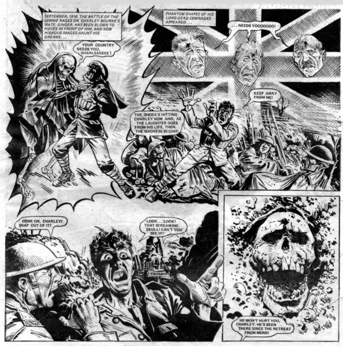 The horror of the war takes young Charley Bourne to the edge of insanity in this memorable sequence from the strip