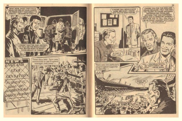 "Pages from ""Blackmail"", a story published in DC Thomson's Football Story Monthly Issue 409. Art © DC Thomson"
