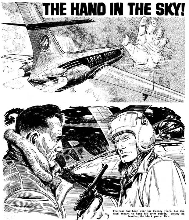 "Spot illustrations for ""The Hand in the Sky"", a text story for Tiger (2nd October 1965)."