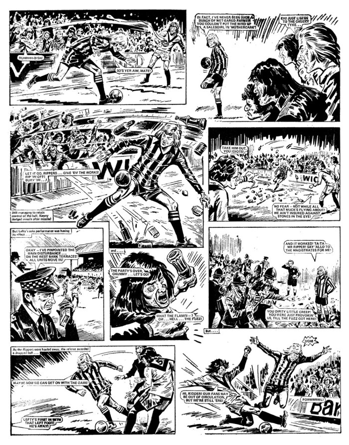 "A controversial page from ""Look out for Lefty"" which contributed to the furore over Action and eventually saw the comic banned. Art by Tony Harding."