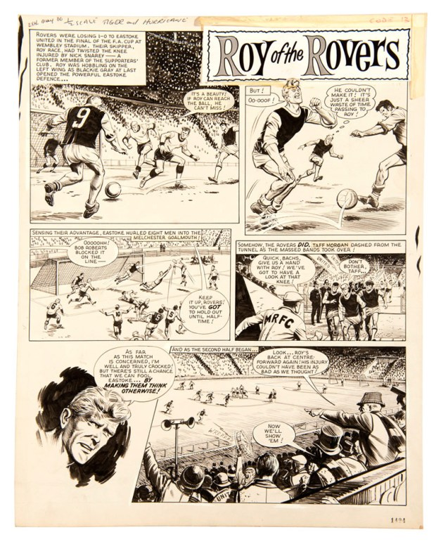 Roy Of The Rovers original artwork by Joe Colquhoun, published in 1966.