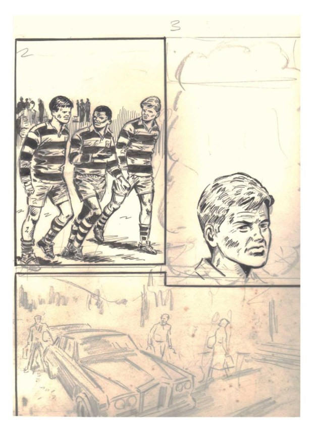 An unfinished football comic page by Tony Harding