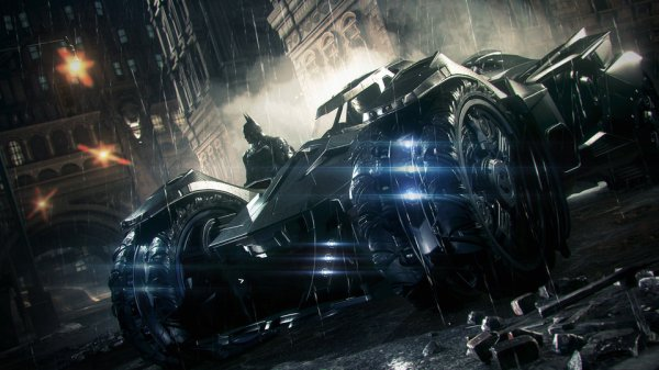 A promotional image for Batman: Arkham Knight.