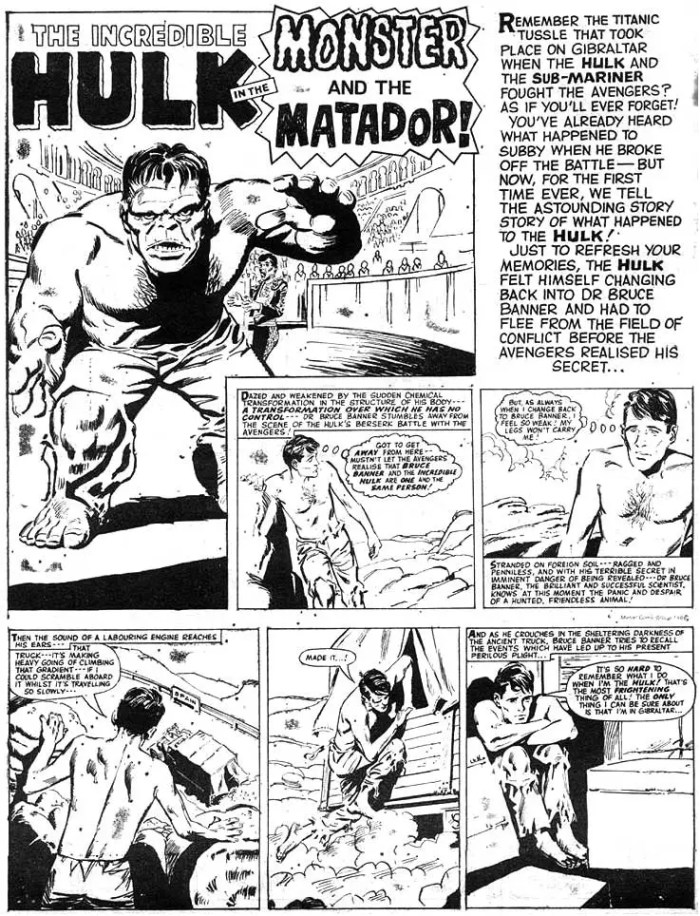 Perhaps the very first original Hulk story created for a non US comic - from SMASH! #38, cover dated 22nd October 1966.