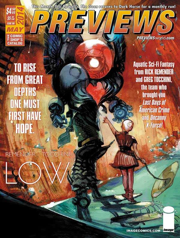 Driven beneath the ocean's waves due to environmental collapse, humanity reemerges after millennia to explore the newly alien Earth in Rick Remender and Greg Tocchini's new series Low from Image Comics.