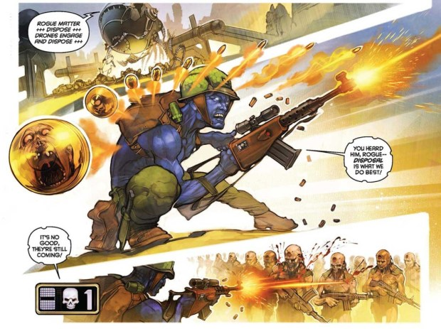 "Stunning art by XXX on the 2000AD Sci-Fi Special's ""Rogue Trooper"" tale. Art © 2000AD"