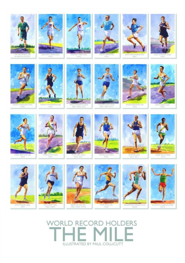 Paul is offering this stunning poster of famous mile record holders through his online shop. Art © Paul Collicutt