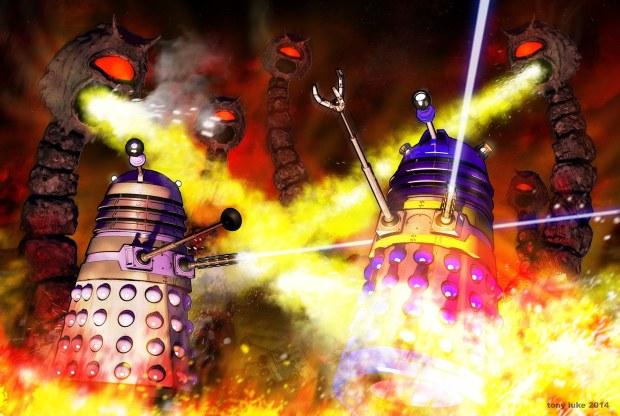 Daleks versus Rock Snakes by and ©  Tony Luke