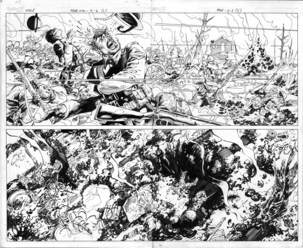 Lalit Sharma's black and white line work for a stunning battle scene and, below, the final cover spread. Art G Campfire