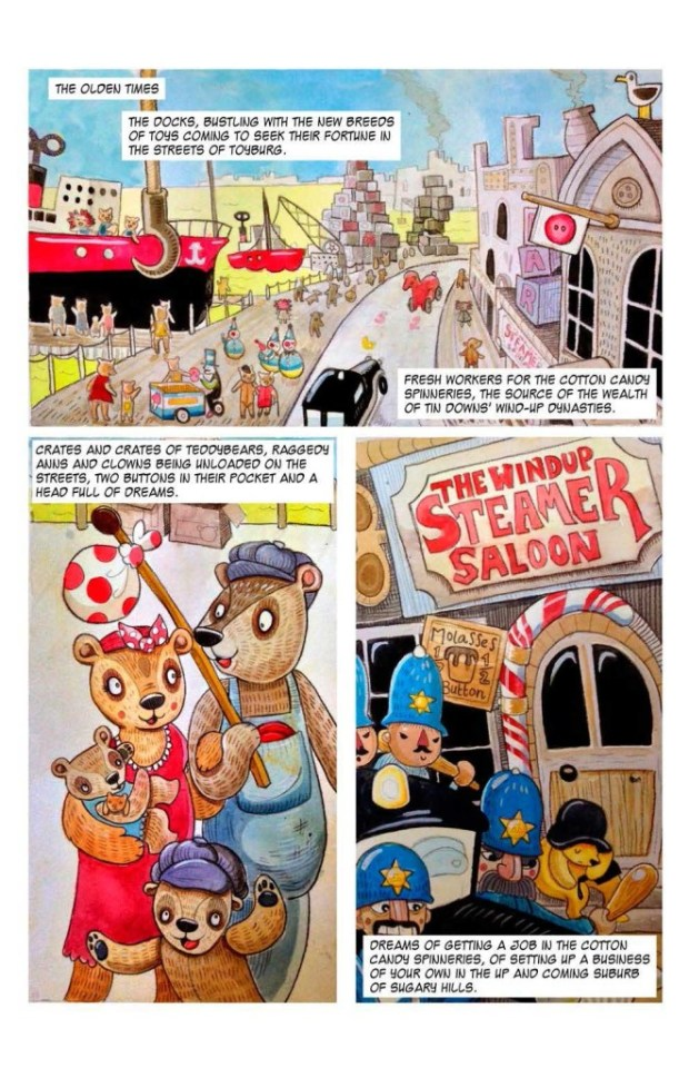 "Old time Toyburg cops beat on immgrant bears in Janos Honkonen's ""The Big Wind Up"". Art by Saoirse Towler, letters by Mick Schubert."