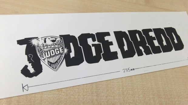 "The first ""Judge Dredd"" logo, designed by Janet Shepheard."