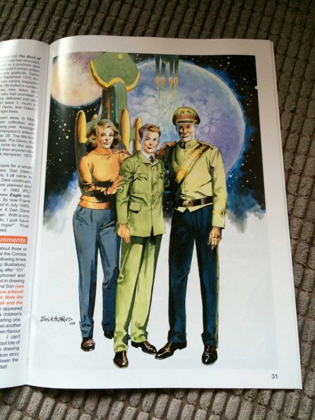 Dan Dare Junior by John M. Burns: artwork especially commissioned for Spaceship Away featuring an incarnation of Dan Dare that, back in the 1970s, never got off the starting block.