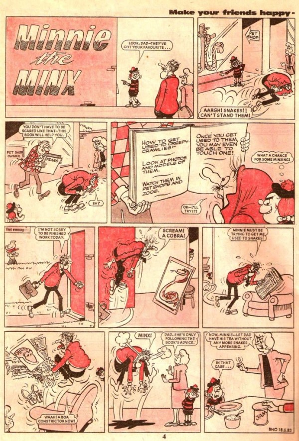 A page of Minnie the Minx drawn by Jim Petrie, published in The Beano dated 18th June 1983. Art © DC Thomson