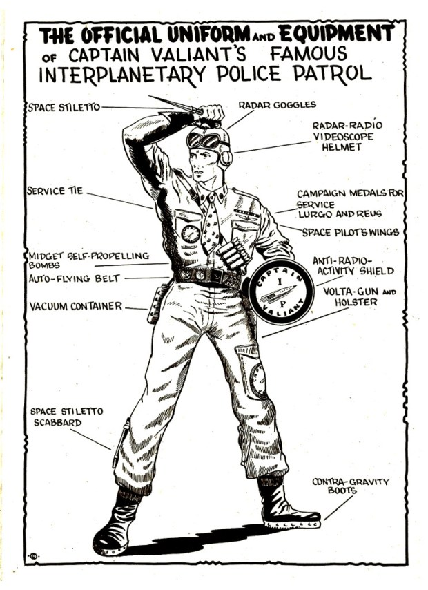 Captain Valiant's uniform as featured in Issue 50 of Space Comics - art also re-used in later issues.