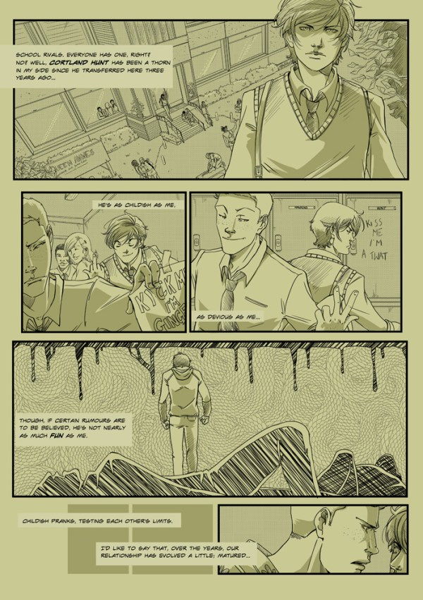 The first page of the online comics project BREAKS by Emma Vieceli and Malin Ryden. BREAKS © 2014 Emma Vieceli and Malin Ryden