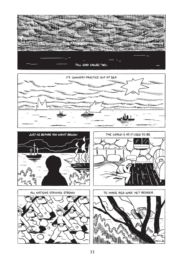 "Some pages from Thomas Hardy's ""Channel Firing"", illustrated by Luke Pearson."