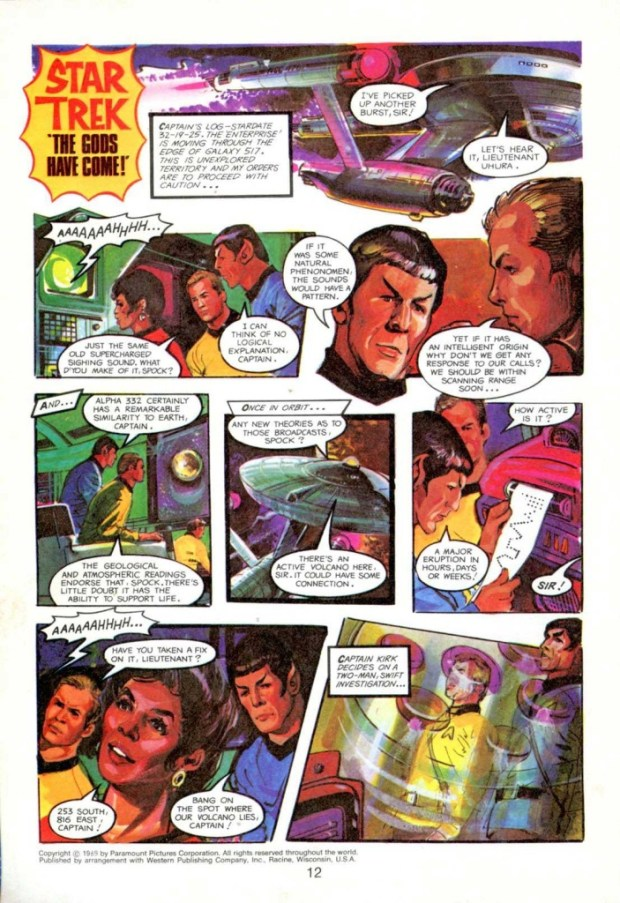 The first page of the Star Trek strip drawn by John Canning for the 1979 Mighty TV Comic Annual.