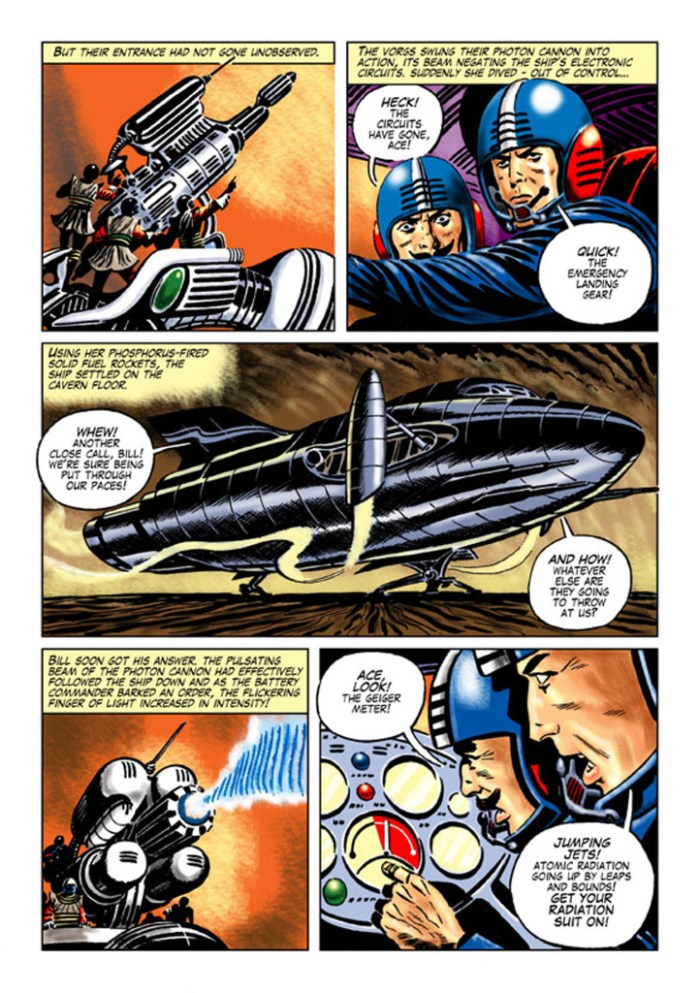 """A page from """"Creeping Death"""" which finds Space Ace battling aliens using a deadly lava flow as a weapon against their enemies."""