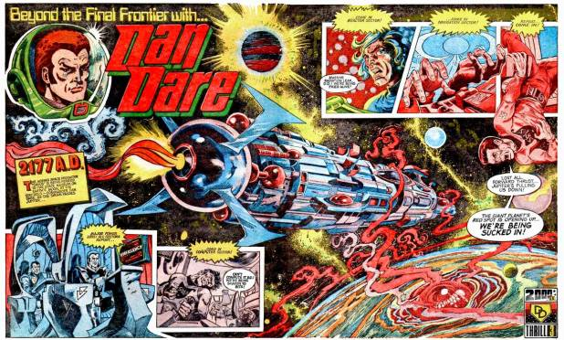 """The opening spread of """"Dan Dare"""" from 2000AD Prog 1 back in 1977. Art by Massimo Belardinelli."""